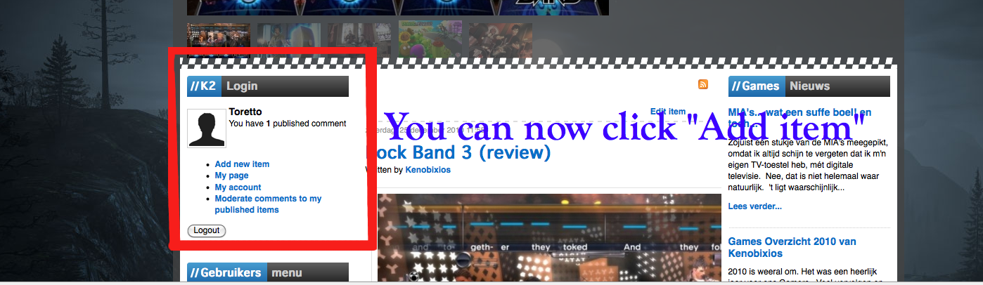 See the Add item link?