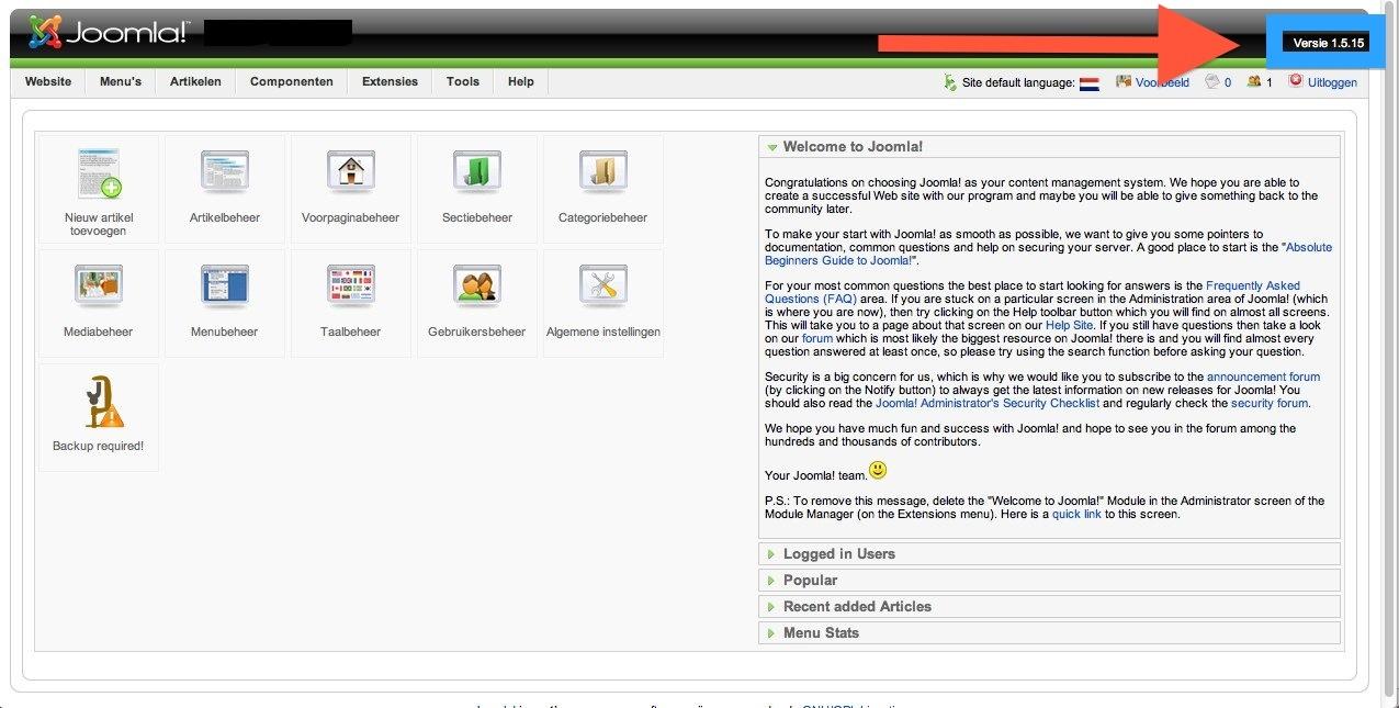 Screenshot of Joomla! 1.5
