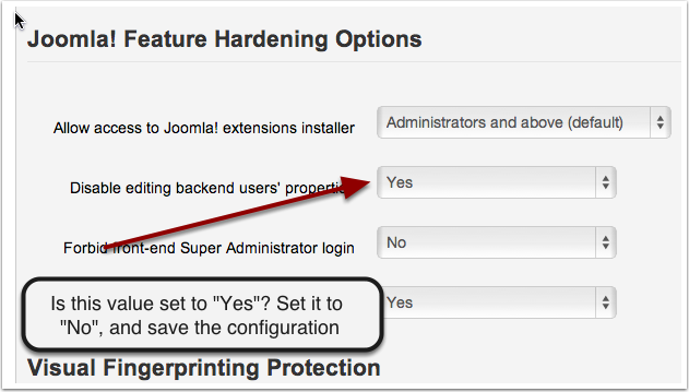 """Set """"Disable Editing backend users properties"""" to yes."""