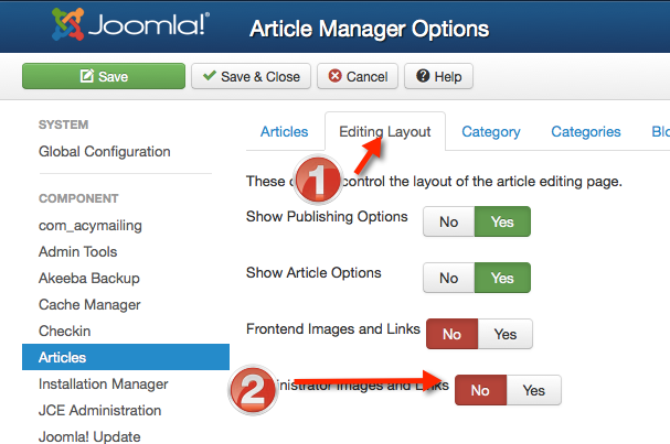 """Click the """"Editing Layout"""" tab, then set Administrator Link & Images to """"No"""""""