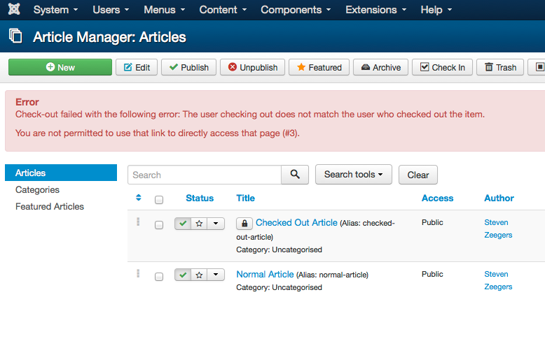 """Joomla displays a check-in error when an article was saved, but not """"exited"""" properly."""